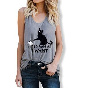 I Do What I Want Cat Spilling Coffee Tank in Grey